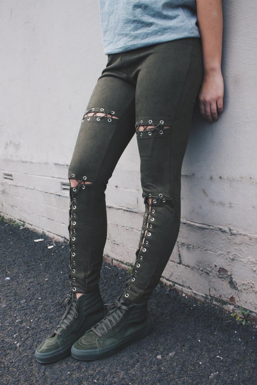 Image of Khaki Double Lace Trousers