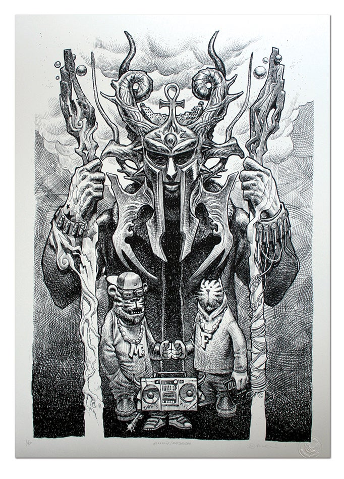 Image of MF DOOM (Black and White)  - Limited Edition Giclee Print A2