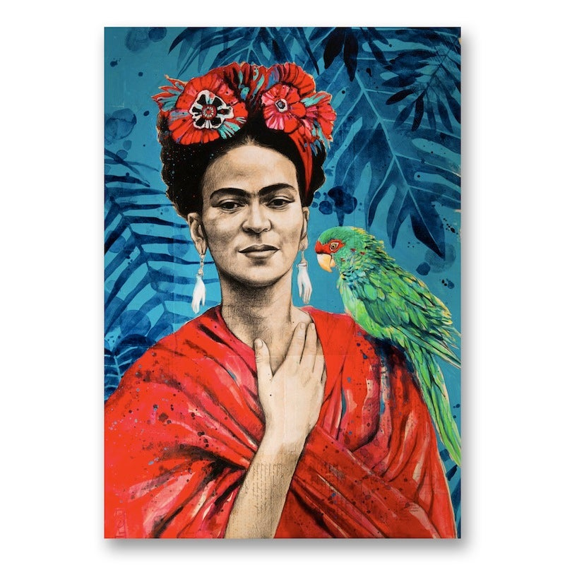 "Image of Paper Art Print - ""Frida au Perroquet"""