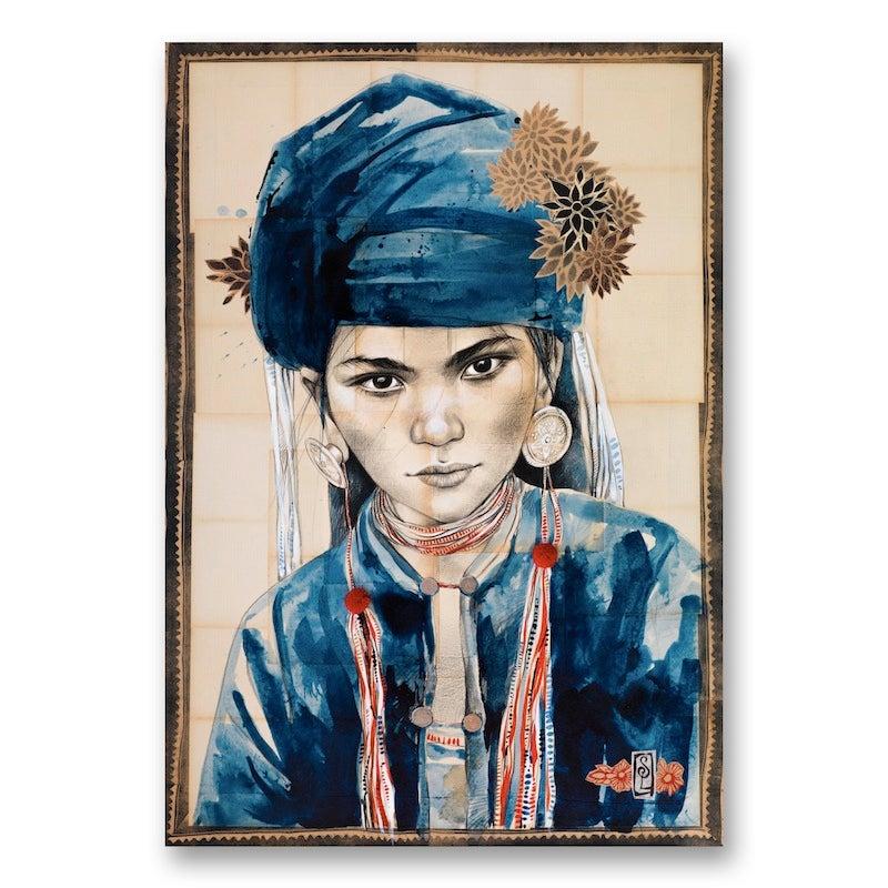 "Image of Paper Art Print - ""Chèche Indigo"""