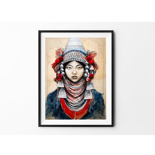 "Image of Paper Art Print - ""Akha Pompons"""