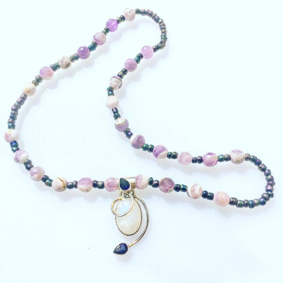 Image of AWAKEN to your HIGHER SELF~SS with Moonstone and Amethyst Necklace