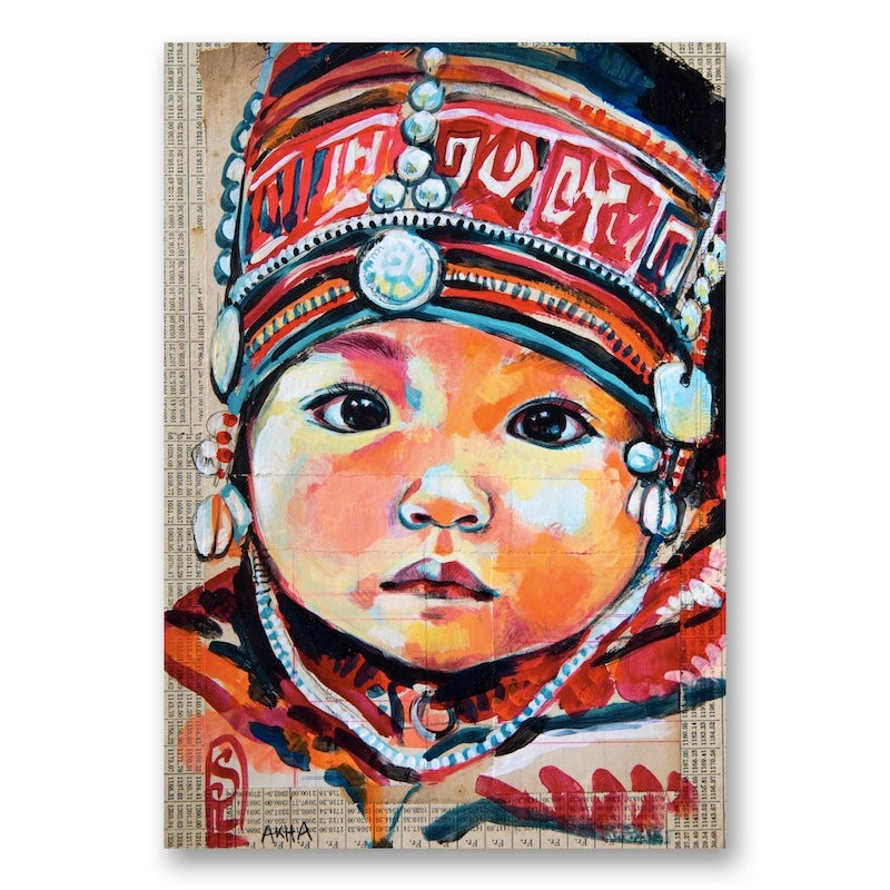 "Image of Paper Art Print - ""Bonnet Akha"""