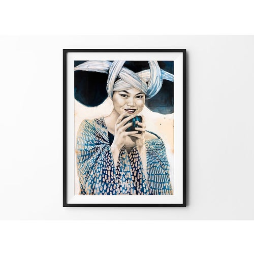 """Image of Paper Art Print - """"Pause thé chez les Miaos"""""""