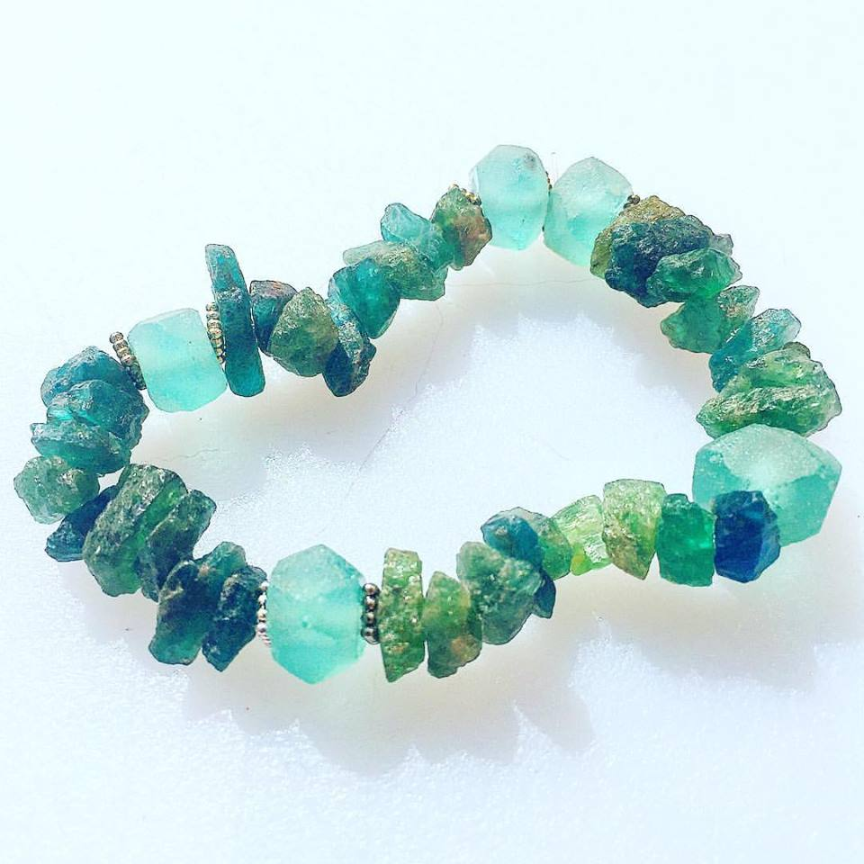 Image of Beautiful Raw Apatite with African Glass <3