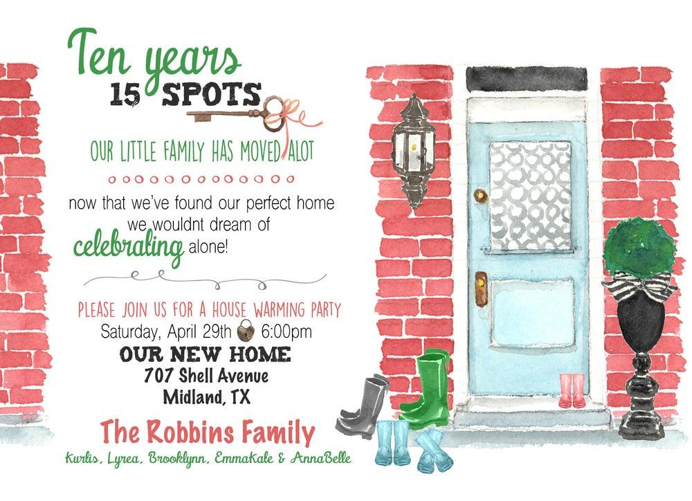 Image of New Home -House Warming Invitation- Change of Address- rainboots