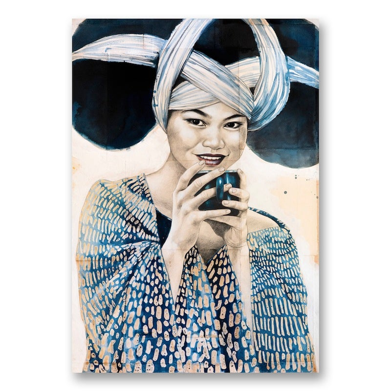 "Image of Canva Art Print - ""Pause thé chez les Miaos"""
