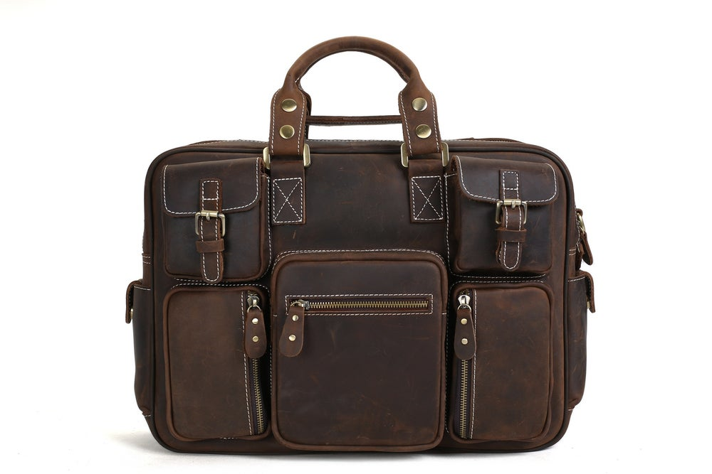 Image of Handcrafted Vintage Extra Large Genuine Leather Travel Bag Duffle Bag Organizer Bag 7028