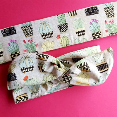Cactus and Succulents on Tan Wire Headband - According To Alana Pin Up Wire Headbands and Matchy Accessories