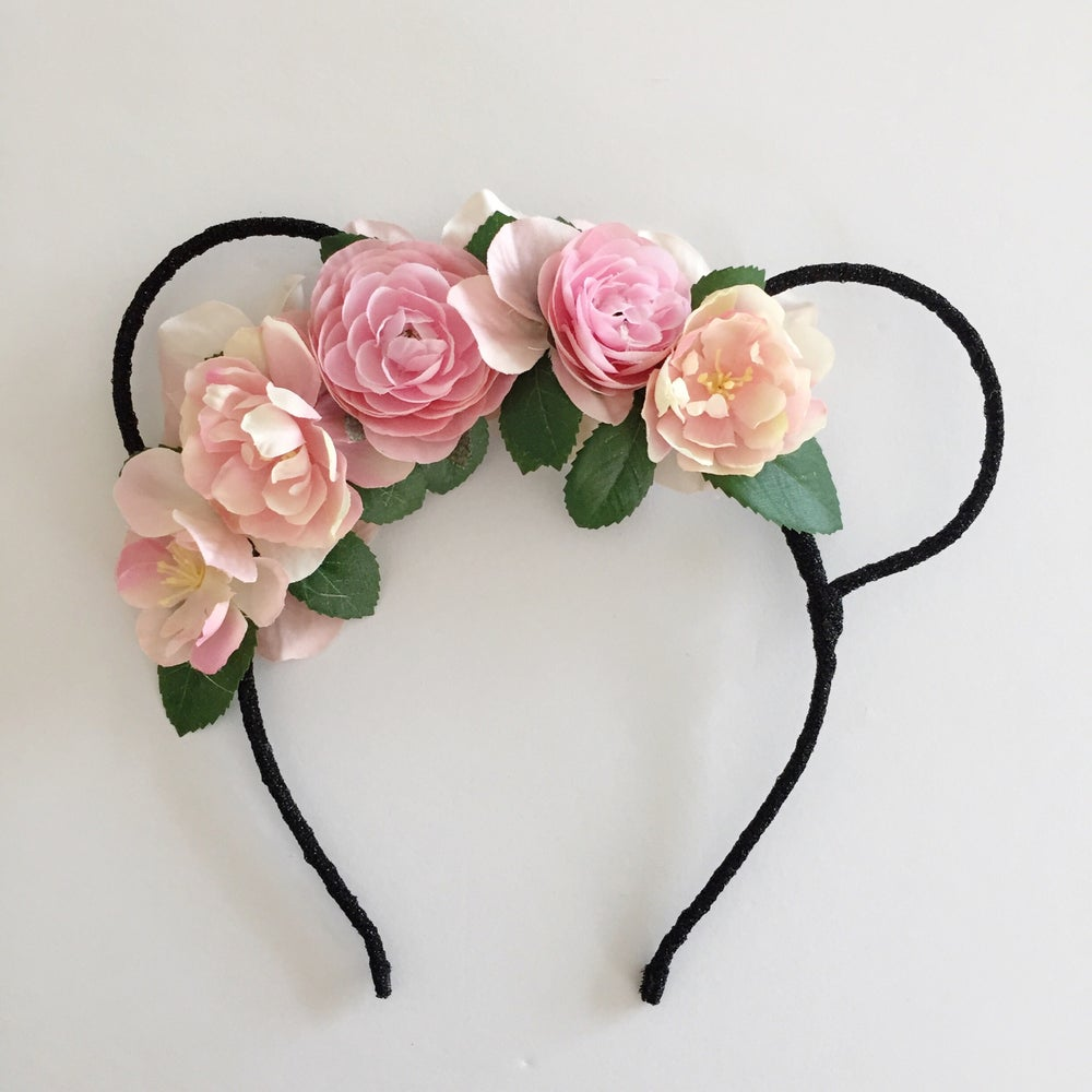 Image of Mouse Ears - black with pink