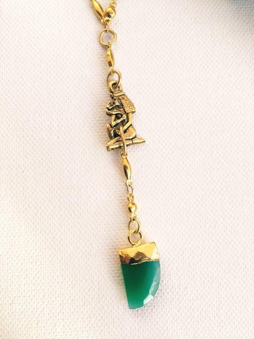 Image of OG ORACLE • Green Onyx Pendulum Necklace