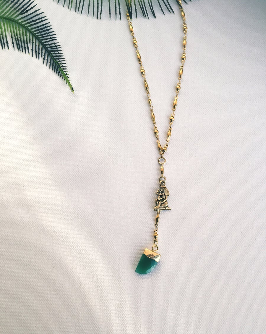 Image of OG ORACLE • Green Onyx Pendulum Necklace