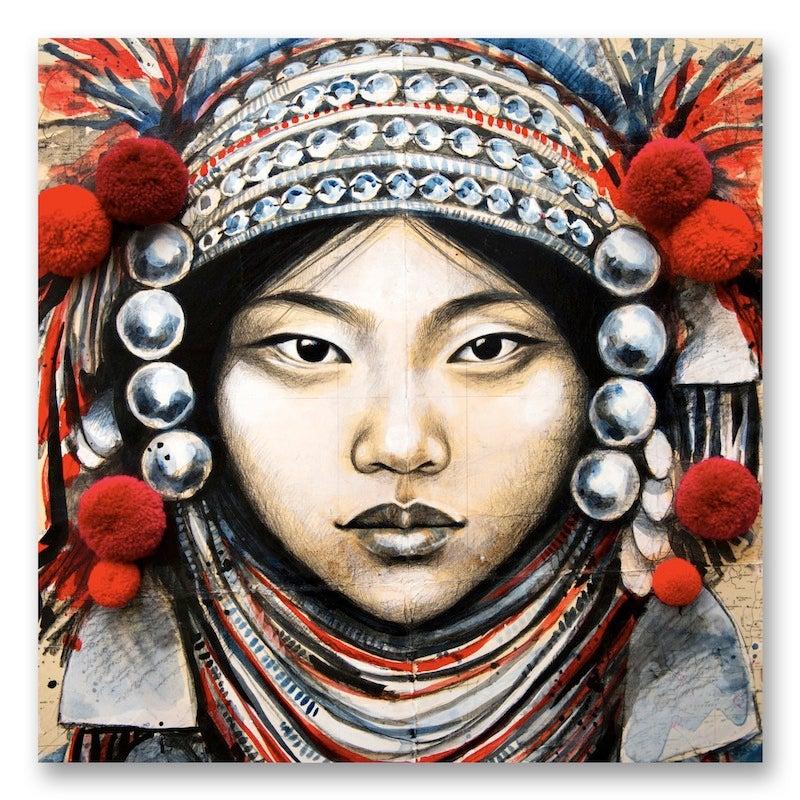 "Image of Canva Art Print - ""Akha Coiffe Pompons"""