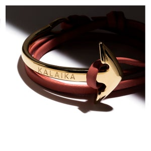 Image of CURVED ANCHOR LEATHER WRAP BRACELET