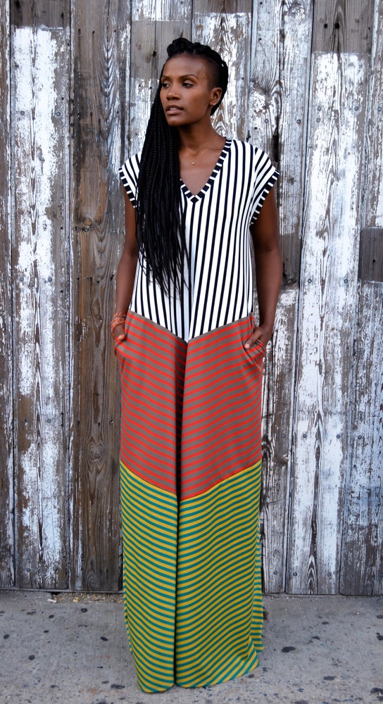 Image of •Tara• A-line Kaftan Dress: summer multi stripe