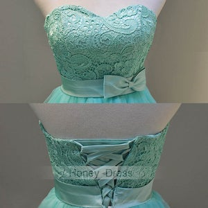 Image of Green Tulle Lace Sweetheart Cocktail Dress With Belt