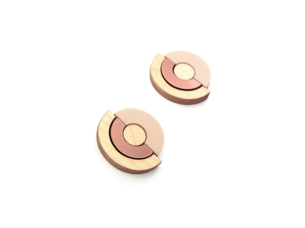 Image of Concentric Circle Earrings - Rose