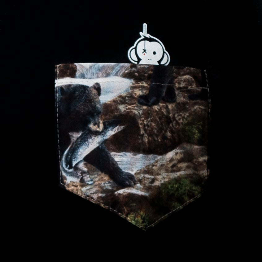 Image of Monkey Climber Bear with Salmon pocket tee I Black