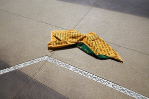 Image of Beach Towel - old gold & hunter green