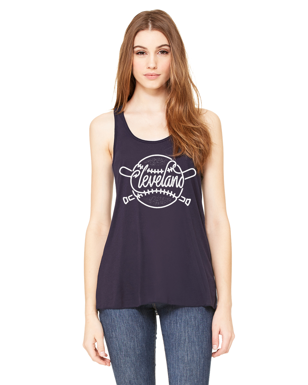 Image of Cleveland Baseball Ladies Navy Tank
