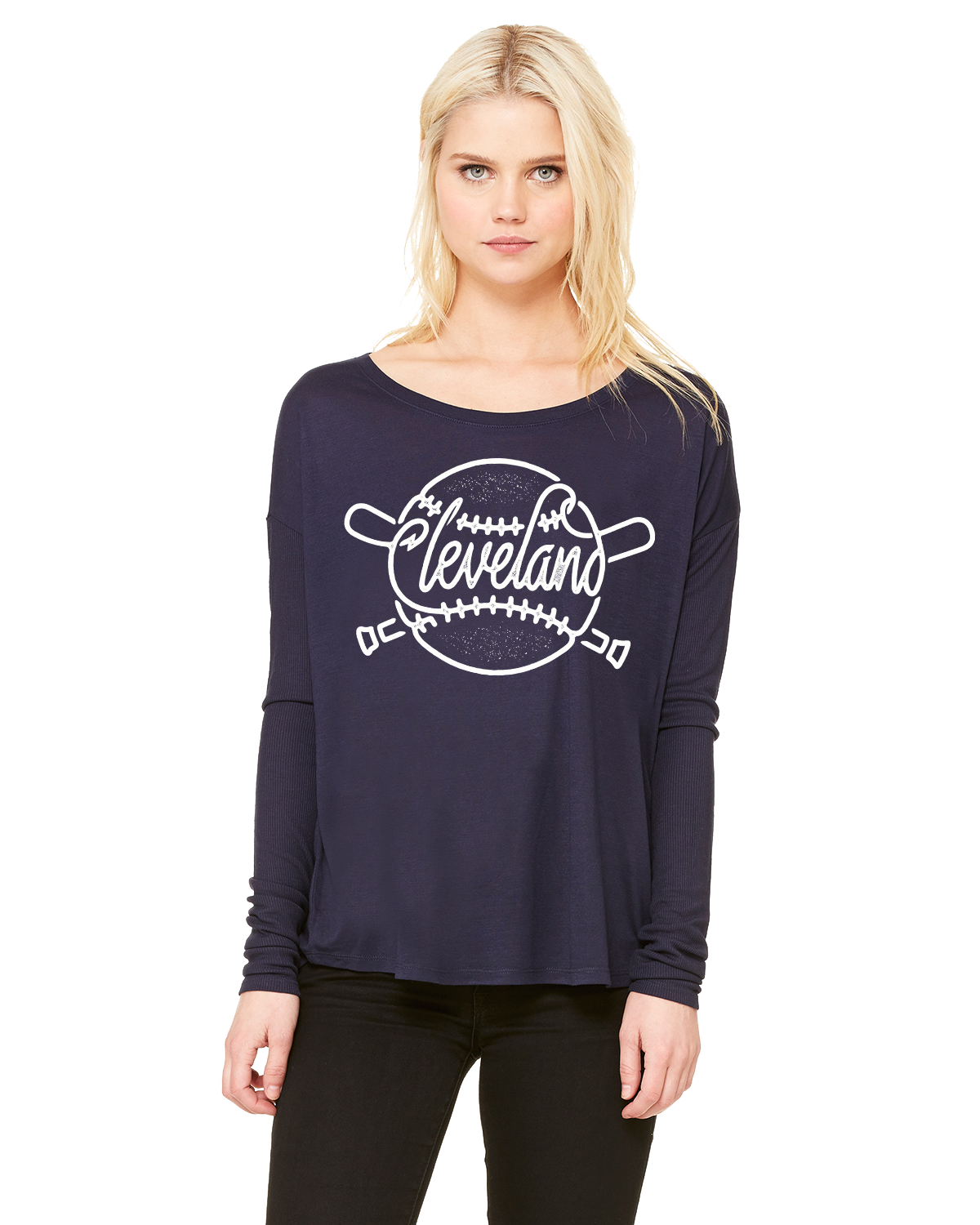 Image of Cleveland Baseball ladies navy long sleeve shirt