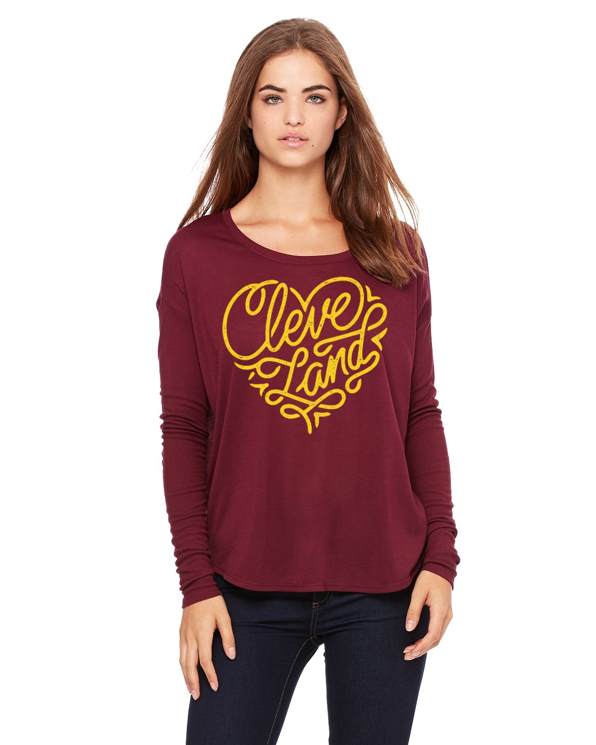 Image of Cleveland Heart ladies maroon long sleeve