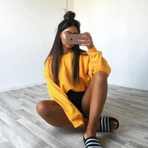 Image of Apricot Yellow Oversized Sweatshirt