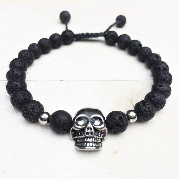 Image of Only for Men Armband Skull Black Lava