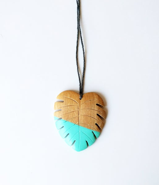Image of Hello Monstera! Necklace - Turquoise