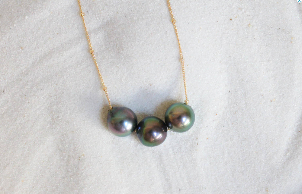 Image of Tahitian Pearl Gold Filled Satellite Necklace