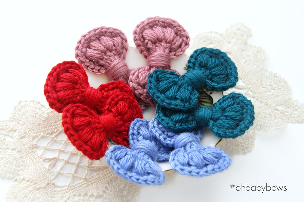 Image of Hand Crochet Yarn Bow Clips - 27 Assorted Colours