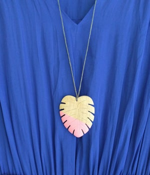 Image of Hello Monstera! Necklace - Blush