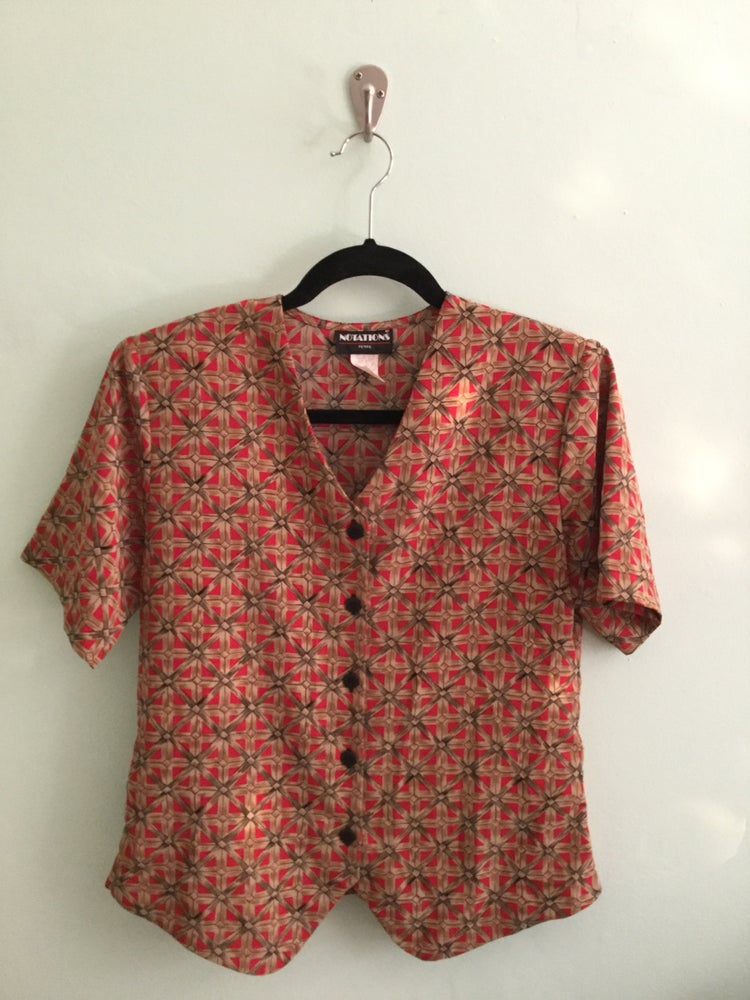 Image of tan patterned short sleeve button down