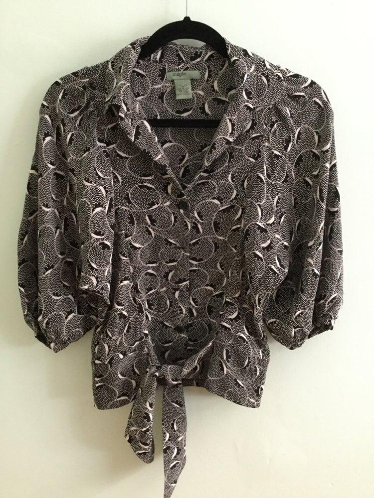Image of silk black/white pattern tie crop top