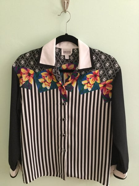 Image of floral & stripe collared button down
