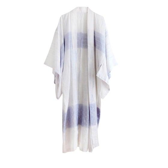 Image of Hør kimono med lavendel shibori mønster