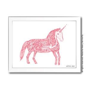 Image of pink unicorn_ A4
