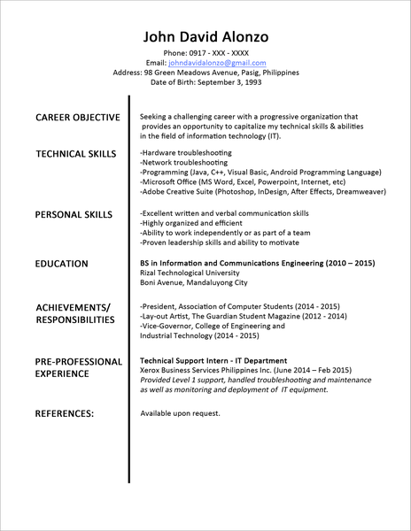 Image of Download Free Resume Format For Pharmacist