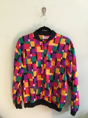 Image of bright square pattern 90's zip up jacket