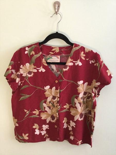Image of legit Hawaiian print maroon crop top