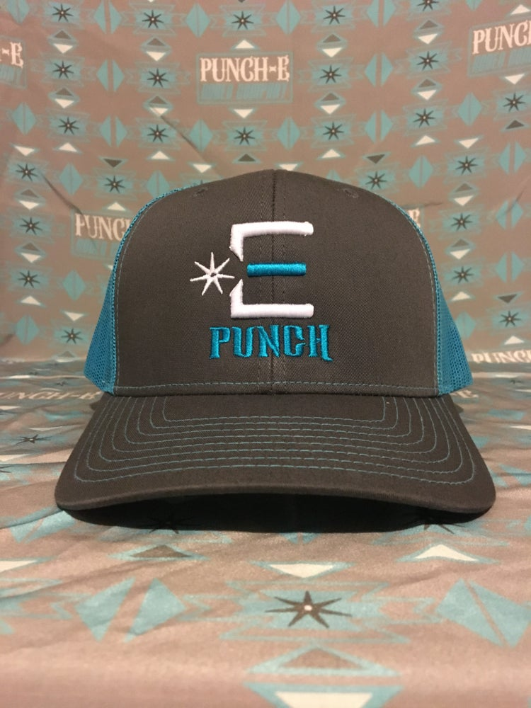 Image of Punch-E Logo (charcoal/neon blue) Bent bill