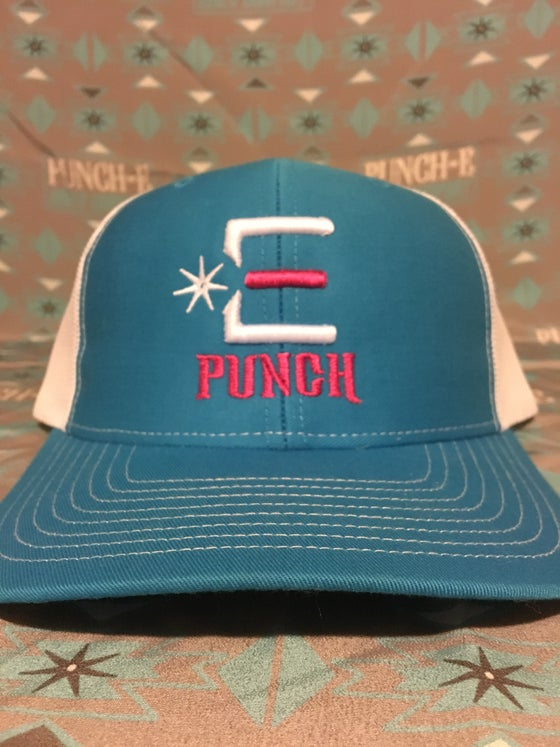Image of Punch-E Logo (cyan/white) Bent Bill