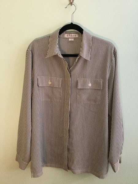 Image of plus size black/white pinstripe button down