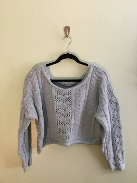 Image of powder blue woven knit crop sweater