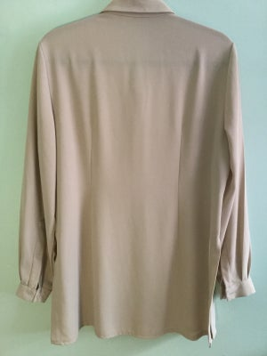 Image of cream long sleeve button down with slits