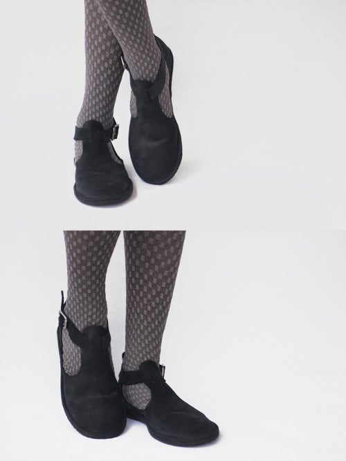 Image of Flat leather shoes - Cut-out in Nubuck Black