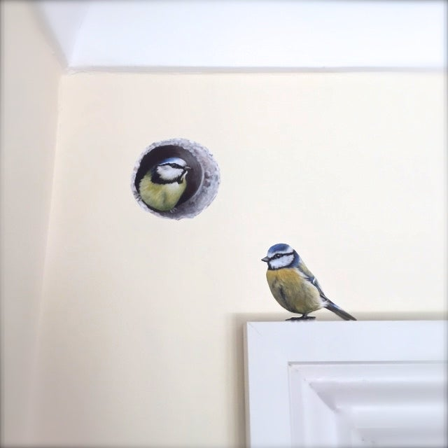 Image of We are back on the 8th of Jan! - Bessie Blue tit in wall ~ Wall decal