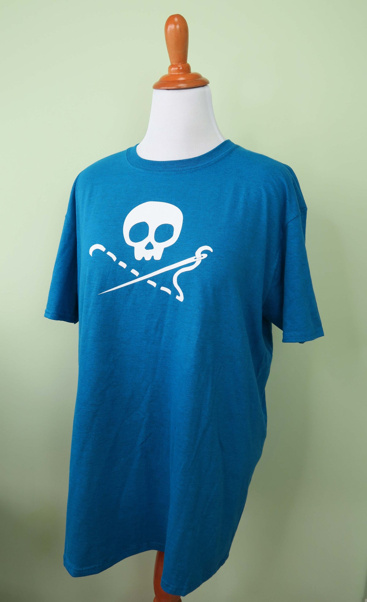 Image of Antiqued Sapphire Sewing Skull Crew Neck Shirt