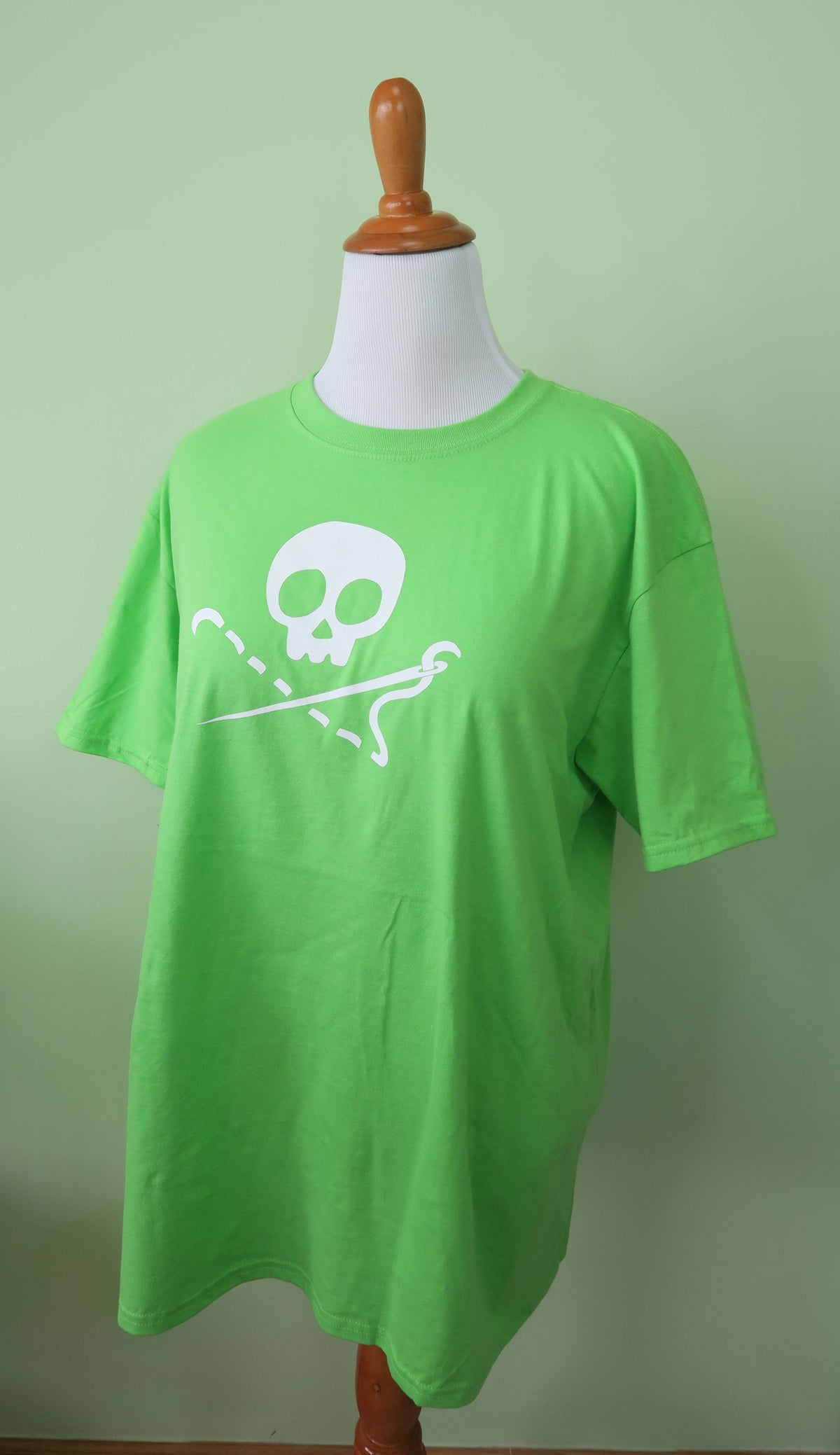 Image of PREORDER - Lime Green Sewing Skull Crew Neck Shirt - Shipping May 31