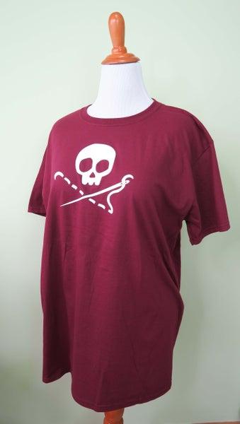 Image of PREORDER - Maroon Sewing Skull Crew Neck Shirt - Shipping May 31